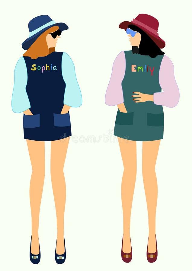 Gesprek van twee meisjes in modieuze klerenvector stock illustratie