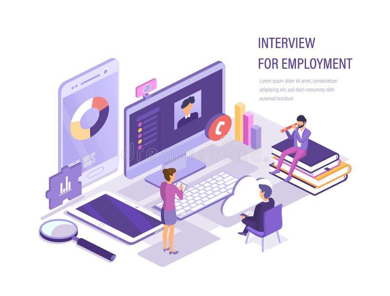 Gesprek voor werkgelegenheid Zoeken, selectie van kandidaten, personeel stock illustratie