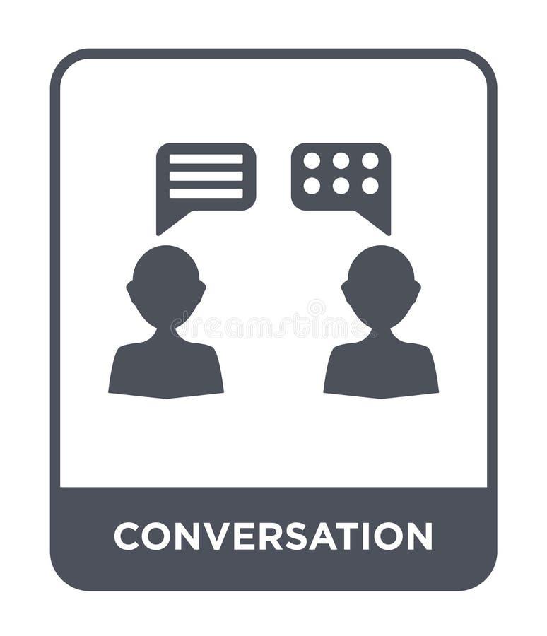 gesprekspictogram in in ontwerpstijl gesprekspictogram op witte achtergrond wordt geïsoleerd die eenvoudig gespreks vectorpictogr stock illustratie