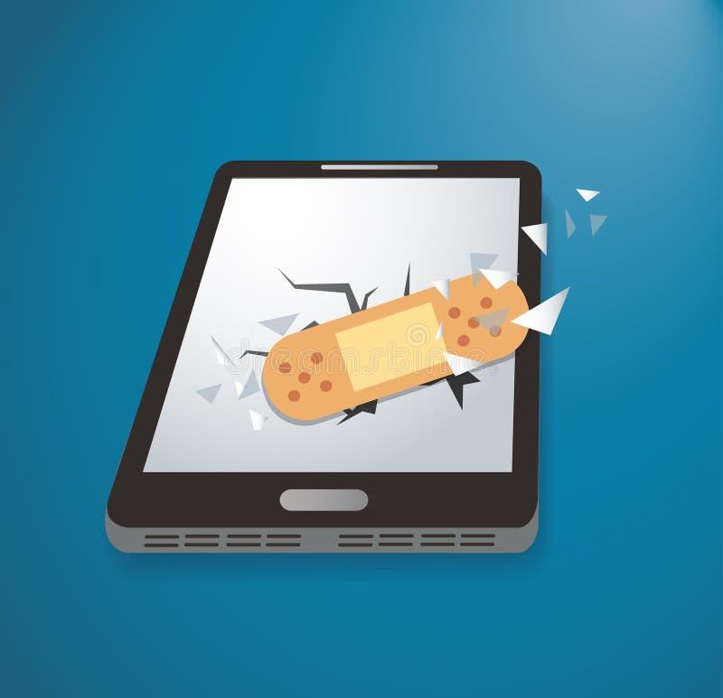 Gesso attaccante sul vettore rotto dell'icona dello smartphone royalty illustrazione gratis
