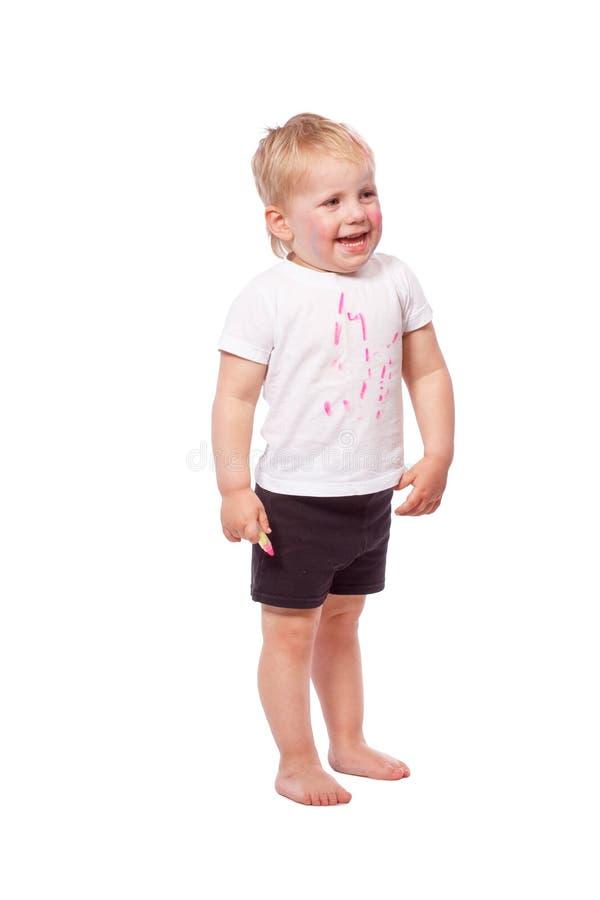 Gesso colorato tiraggio dei bambini su a vicenda fotografia stock libera da diritti