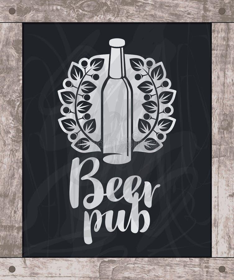 Gesso di disegno della bottiglia di birra a bordo nel telaio di legno royalty illustrazione gratis