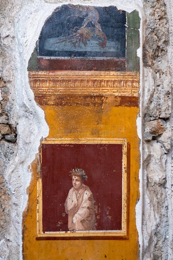 Gesso frescoed antico di una casa a Pompei fotografia stock libera da diritti