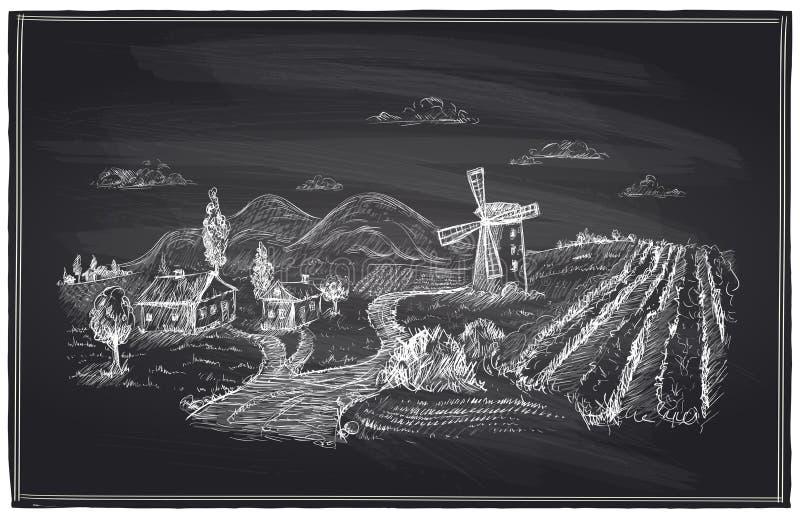 Gesso rurale del paesaggio, del mulino a vento e della vigna royalty illustrazione gratis
