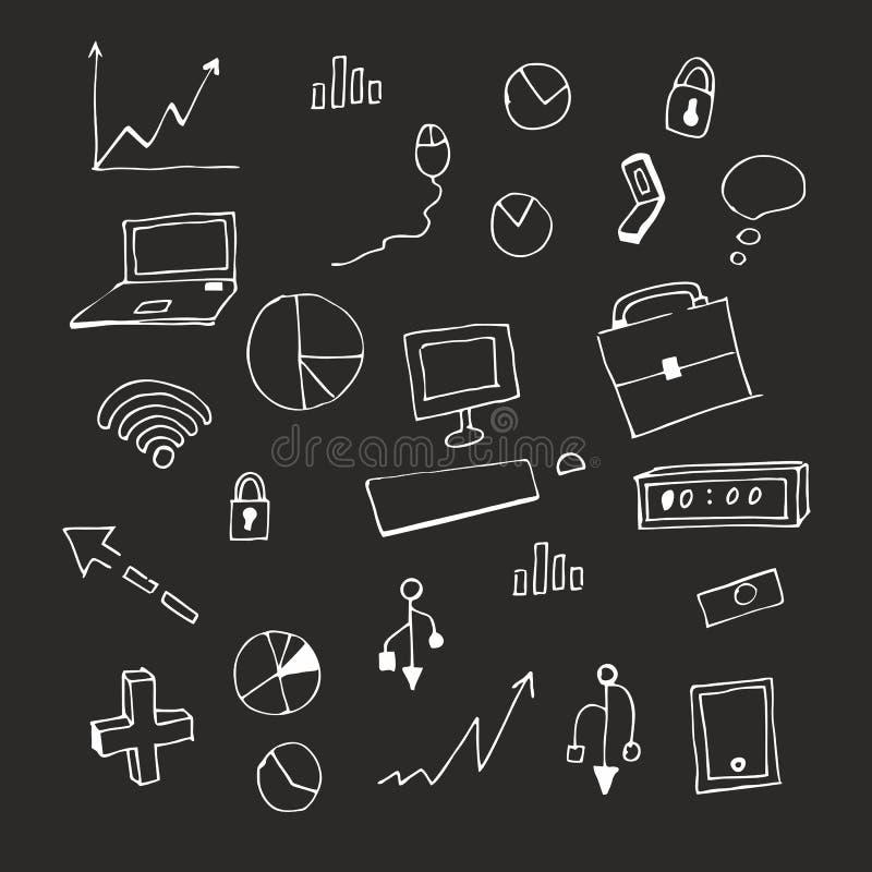 Gesso sulla lavagna Illustrazione di vettore insieme Icone e distintivi di affari illustrazione vettoriale