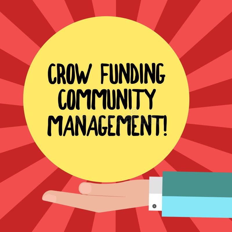 Gestão conceptual da comunidade do financiamento do corvo da exibição da escrita da mão Investimentos apresentando Hu do projeto  ilustração stock