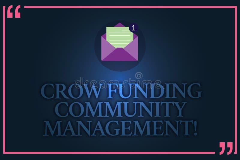 Gestão conceptual da comunidade do financiamento do corvo da exibição da escrita da mão Investimentos do projeto do fundo do risc ilustração stock