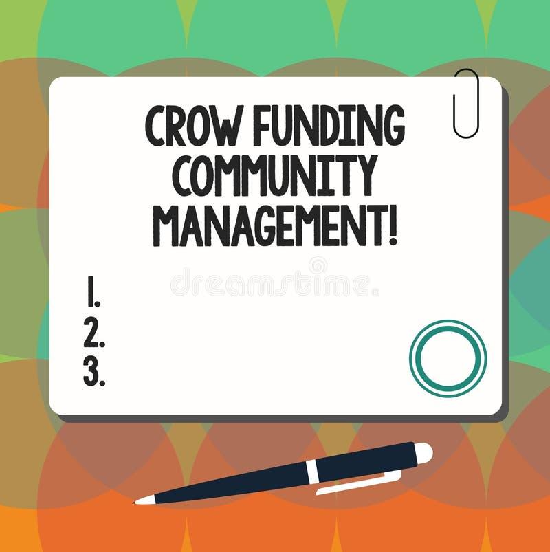 Gestão conceptual da comunidade do financiamento do corvo da exibição da escrita da mão Projeto apresentando do fundo do risco da ilustração do vetor
