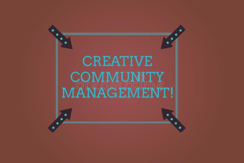 Gestão criativa da comunidade do texto da escrita da palavra O conceito do negócio para defender um tipo em redes sociais esquadr ilustração stock