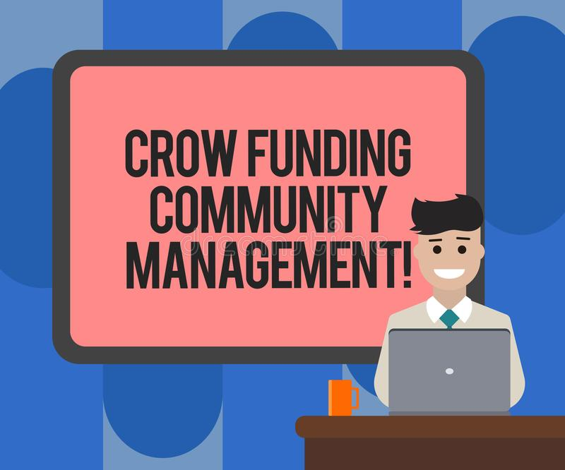 Gestão da comunidade do financiamento do corvo da escrita do texto da escrita Conceito que significa a placa dos investimentos do ilustração stock
