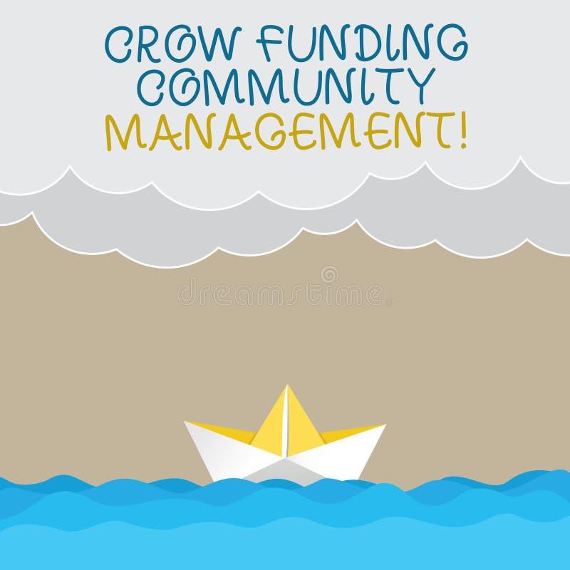 Gestão da comunidade do financiamento do corvo da escrita do texto da escrita O conceito que significa investimentos do projeto d ilustração royalty free