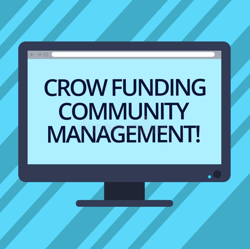 Gestão da comunidade do financiamento do corvo da exibição do sinal do texto Os investimentos conceptuais do projeto do fundo do  ilustração stock