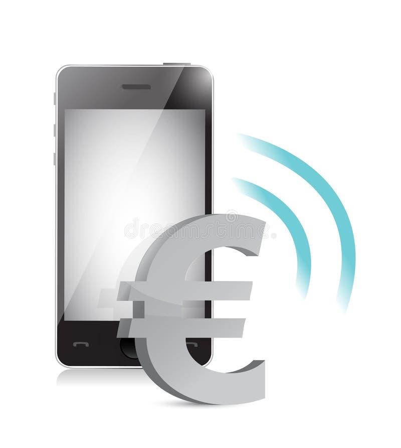 Gestão da moeda do Euro em um telefone celular ilustração royalty free