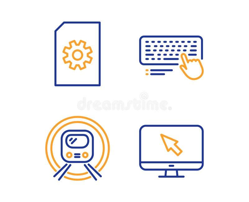 Gestão de arquivo, metro do metro e de teclado de computador grupo dos ícones Sinal do Internet Vetor ilustração do vetor