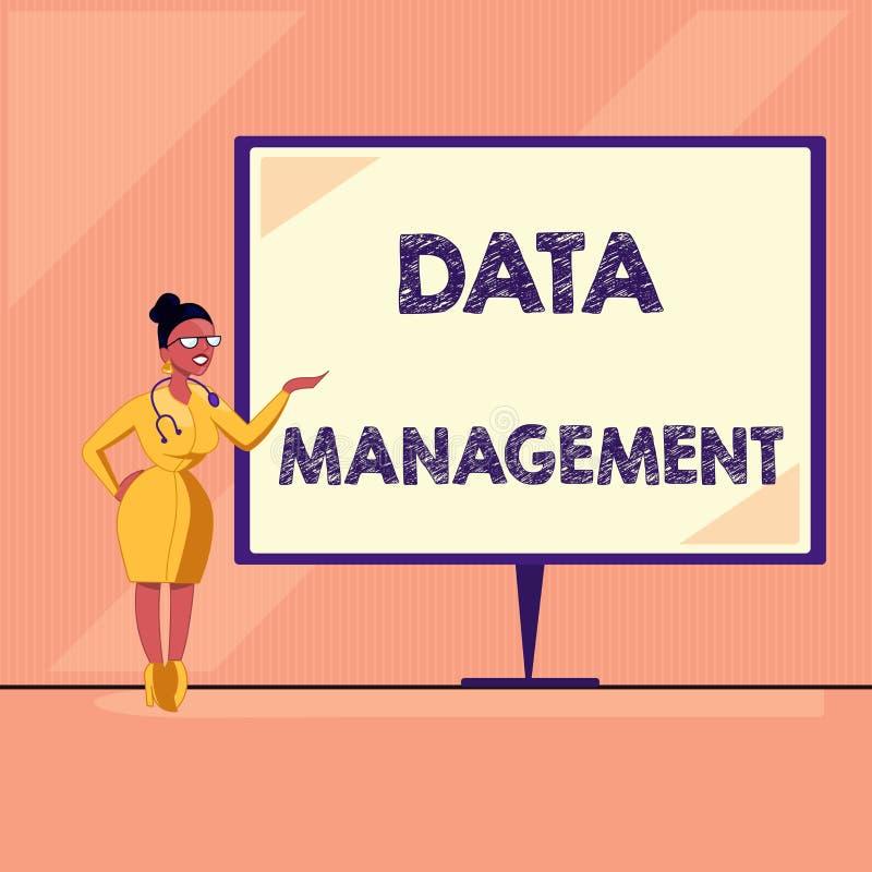 Gestão de dados do texto da escrita da palavra Conceito do negócio para a prática de processos de organização e de manutenção dos ilustração royalty free