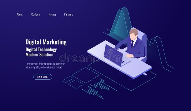 A gestão de dinheiro explicando, mercado digital, homem senta-se e trabalha-se no computador, na analítica e no gráfico dos dados ilustração stock