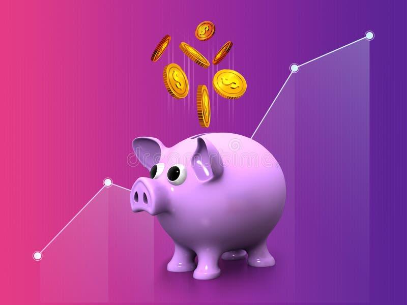 Gestão de investimento empresarial dourada de salvamento da moeda do dólar do mealheiro do dinheiro que introduz no mercado o pro ilustração stock