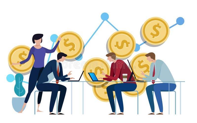 Gestão de investimento Executivos que discutem as cartas e os gráficos que mostram os resultados de seus trabalhos de equipa bem  ilustração royalty free