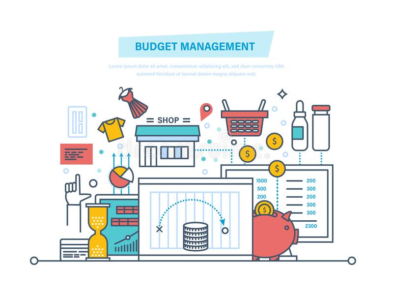 Gestão de orçamento Os cálculos financeiros, estatísticas, analítica dos dados, finança planeando, relatam ilustração do vetor