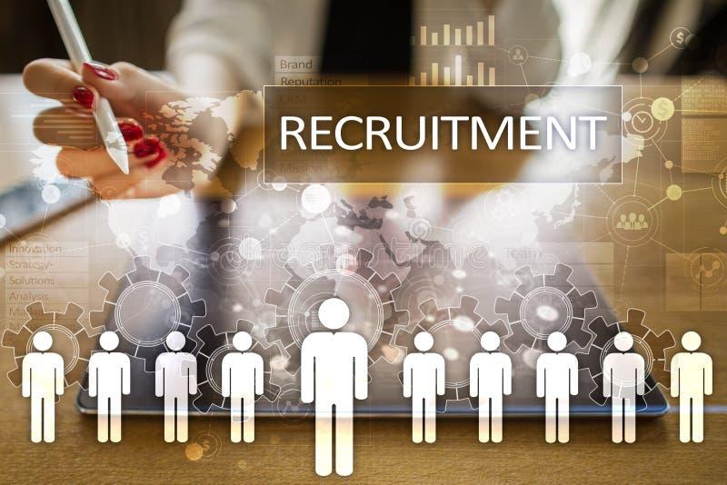 Gestão de recursos humanos, hora, recrutamento, liderança e teambuilding imagens de stock