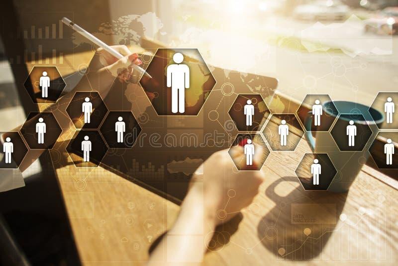 Gestão de recursos humanos, hora, recrutamento, liderança e teambuilding foto de stock