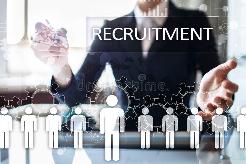 Gestão de recursos humanos, hora, recrutamento, liderança e teambuilding Conceito do negócio e da tecnologia imagens de stock royalty free