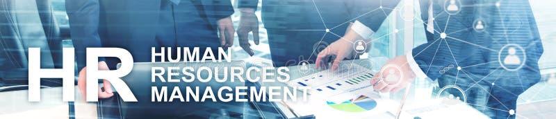 Gestão de recursos humanos, hora, Team Building e conceito do recrutamento no fundo borrado Bandeira de encabeçamento do Web site foto de stock royalty free
