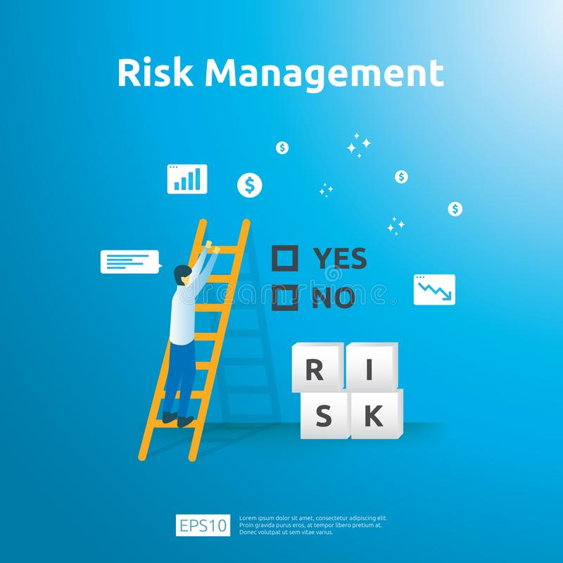 Gestão de riscos e identificação financeira a avaliação e o desafio no negócio a impedir protegem análise de desempenho da ilustração stock