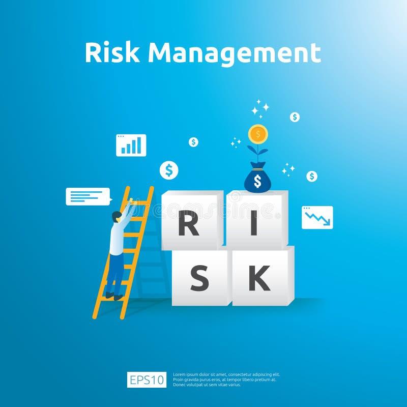 Gestão de riscos e identificação financeira a avaliação e o desafio no negócio a impedir protegem análise de desempenho da ilustração royalty free