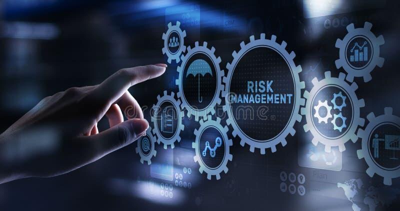 Gestão de riscos que prevê o conceito financeiro do negócio da avaliação na tela virtual ilustração royalty free