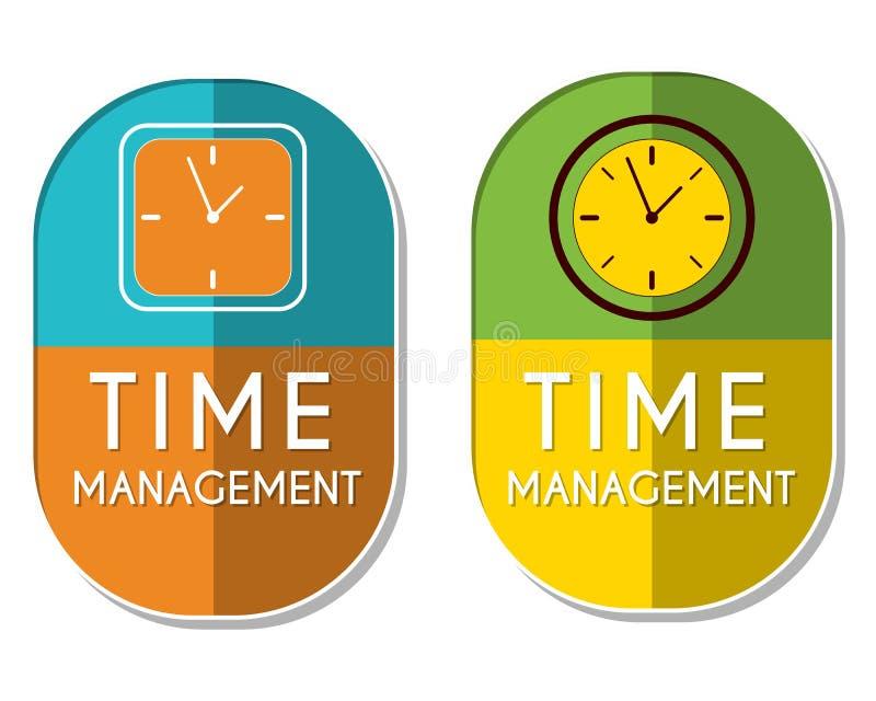 A gestão de tempo com pulso de disparo assina, duas etiquetas elípticas ilustração royalty free
