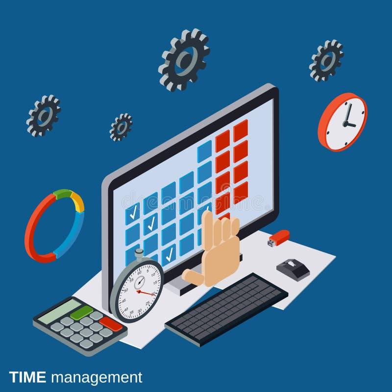 Gestão de tempo, conceito do vetor do planeamento empresarial ilustração do vetor