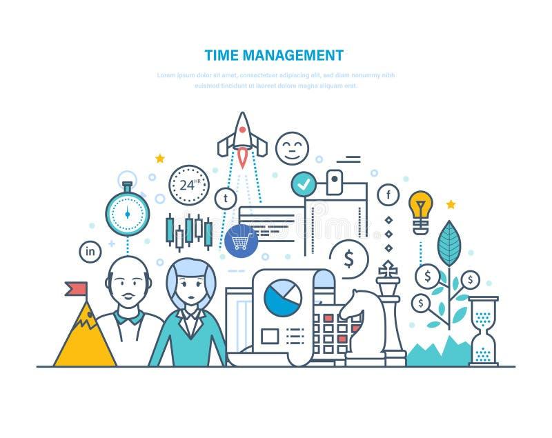 Gestão de tempo Planeamento e organização dos horários laborais, regulamento, trabalhos de equipa ilustração do vetor