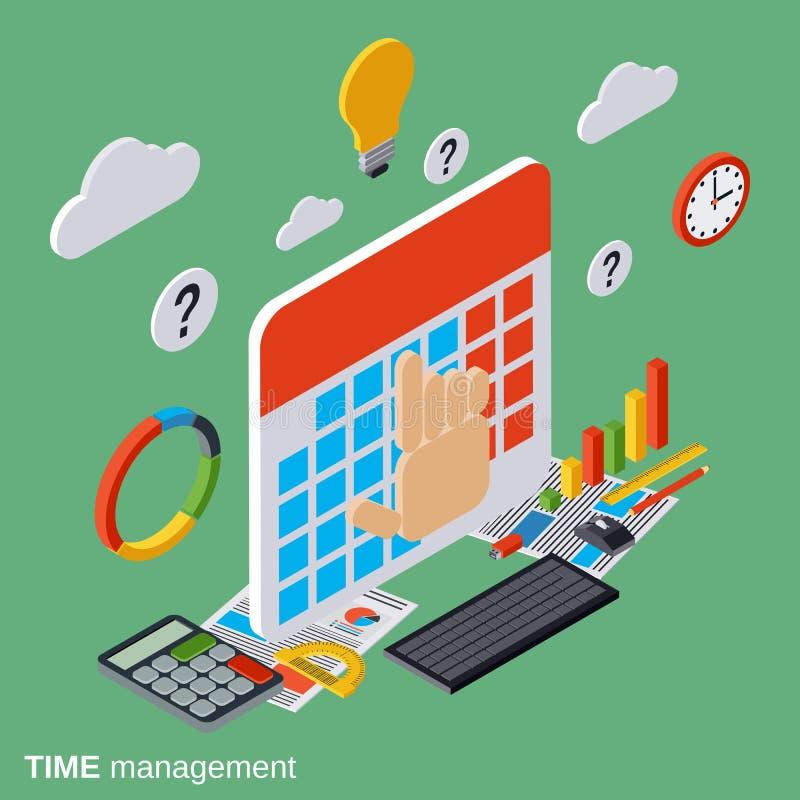 Gestão de tempo, planeamento empresarial, conceito do vetor de controle do tempo ilustração royalty free
