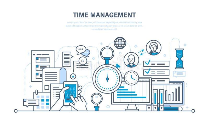 A gestão de tempo, planeamento, organização do trabalho, trabalha controle de processos ilustração royalty free