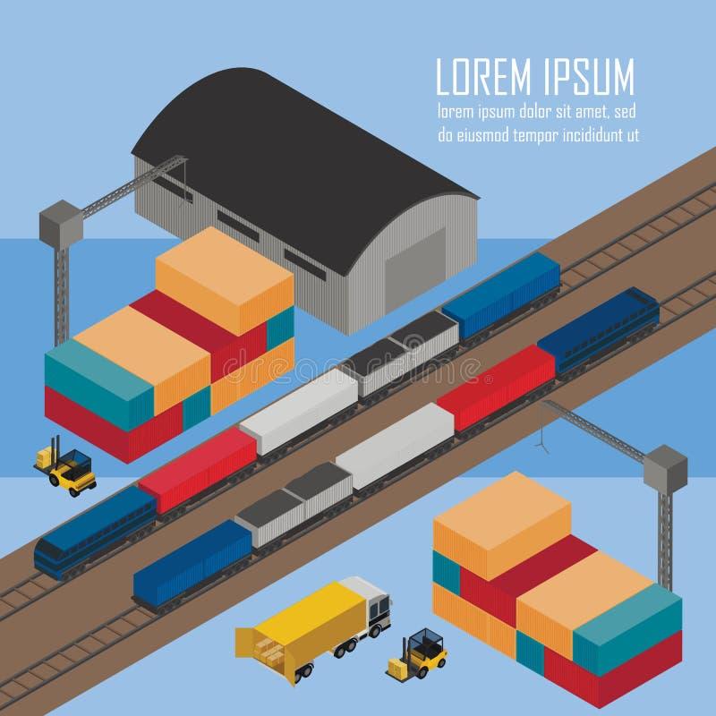 Gestão do armazém em depósitos railway ilustração do vetor