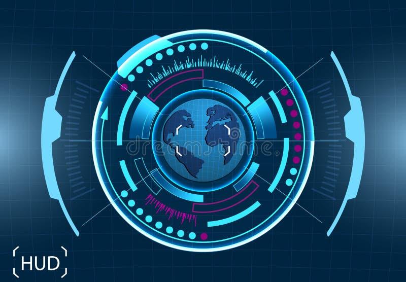 Gestão do computador A imagem da terra Relação gráfica virtual, lente eletrônica, elementos de HUD Ilustração ilustração stock
