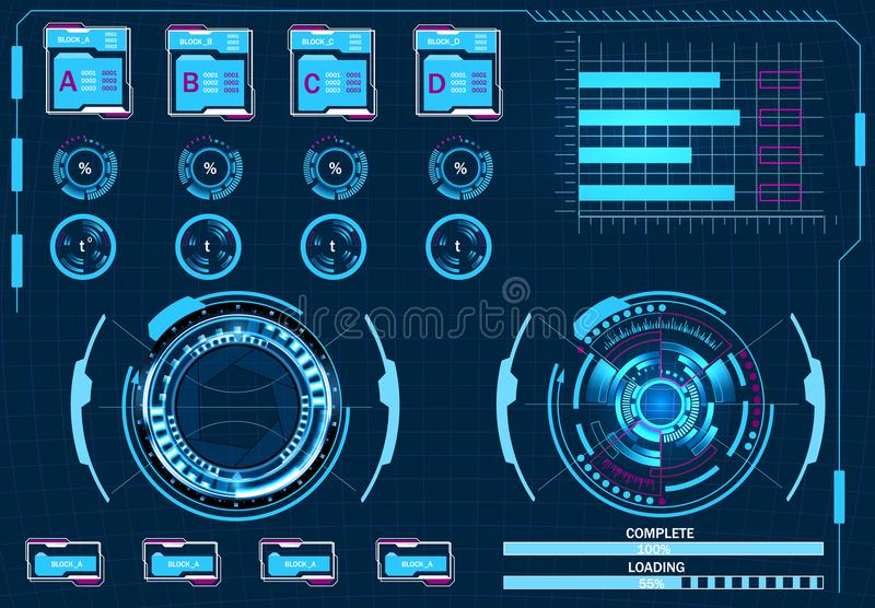 Gestão do computador, interface de utilizador gráfica virtual, elementos de HUD Ilustração ilustração stock