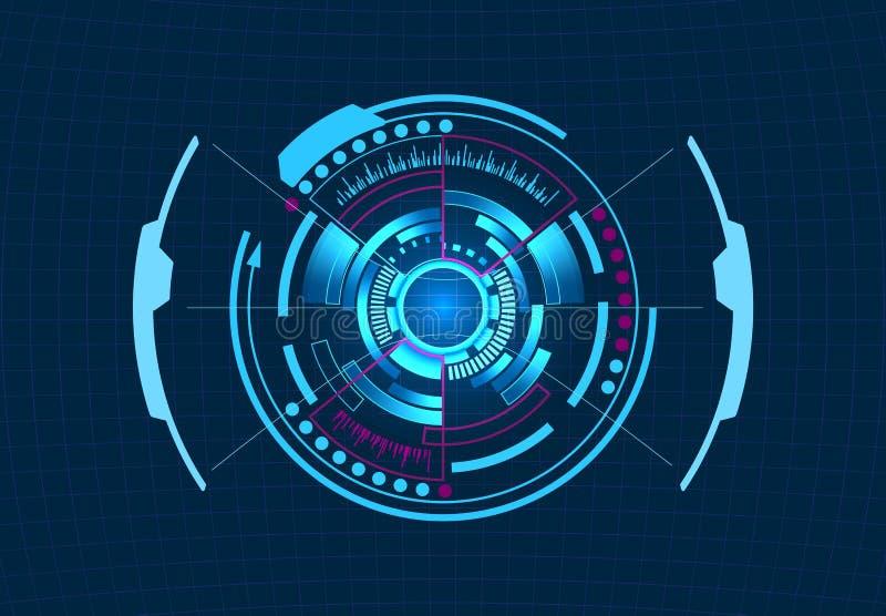 Gestão do computador Relação gráfica virtual, lente eletrônica, elementos de HUD Ilustração ilustração stock