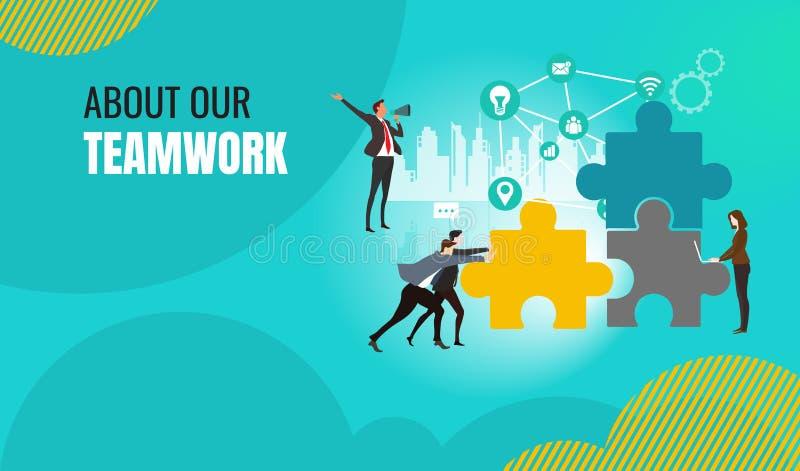Gestão do projeto dos trabalhos de equipe do negócio, trabalhos do negócio, gerenciamento de relacionamento com o cliente ilustração royalty free