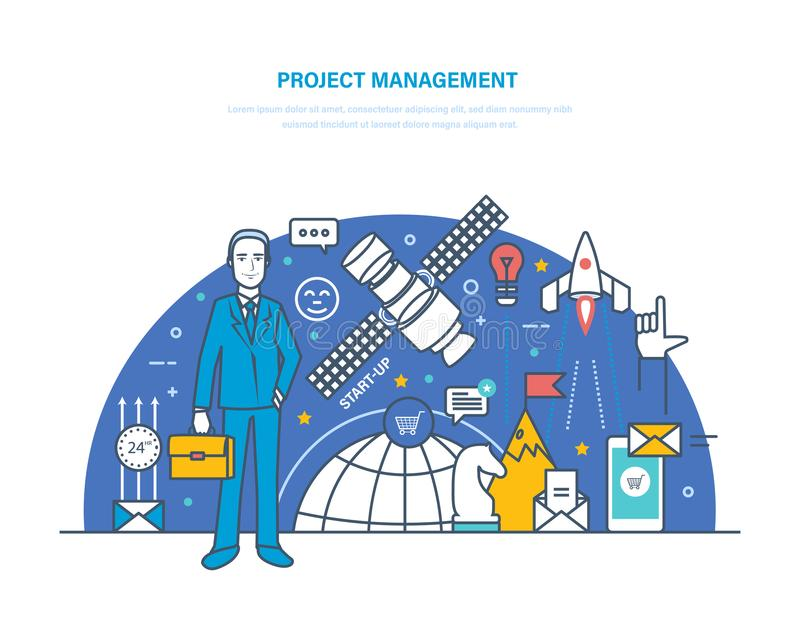 Gestão do projeto Planeamento, organização dos horários laborais, regulamento, gestão de tempo ilustração royalty free