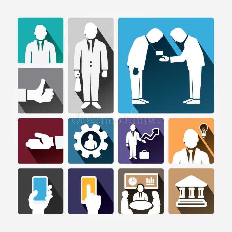 Gestão dos ícones do negócio e recursos humanos. Projeto liso. ilustração stock