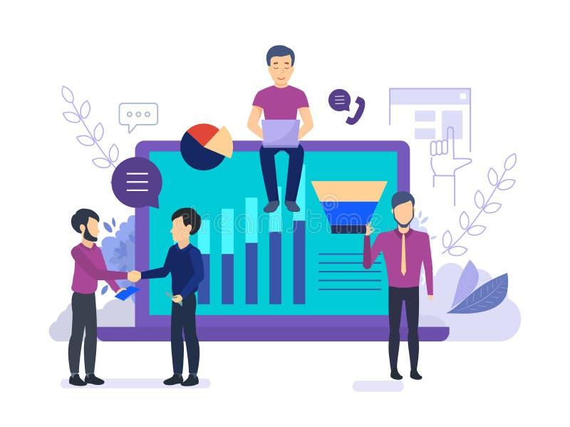 Gestão dos trabalhos do negócio dos empregados da empresa Processo do pensamento, trabalhos de equipe, equipe do negócio ilustração do vetor