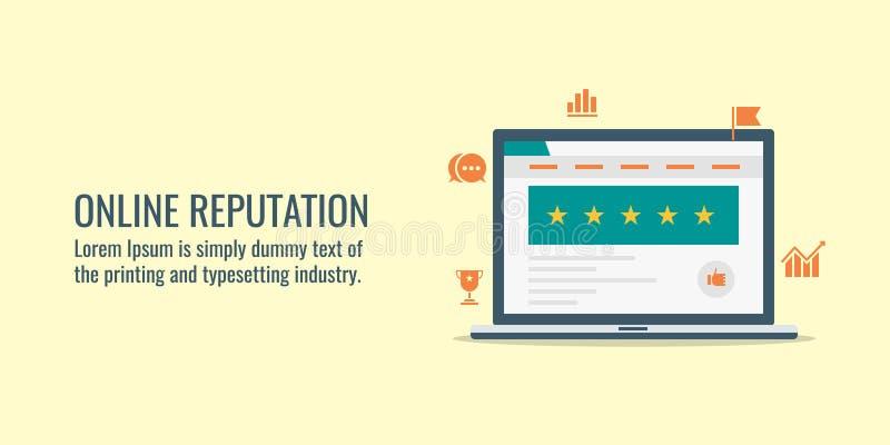 Gestão em linha da reputação, revisão do Web site, feedback de cliente, avaliação, conceito da avaliação do Web site Bandeira lis ilustração do vetor