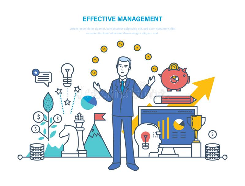 Gestão, planeamento, tempo da organização e gestão de tarefa eficazes, estratégia empresarial ilustração royalty free