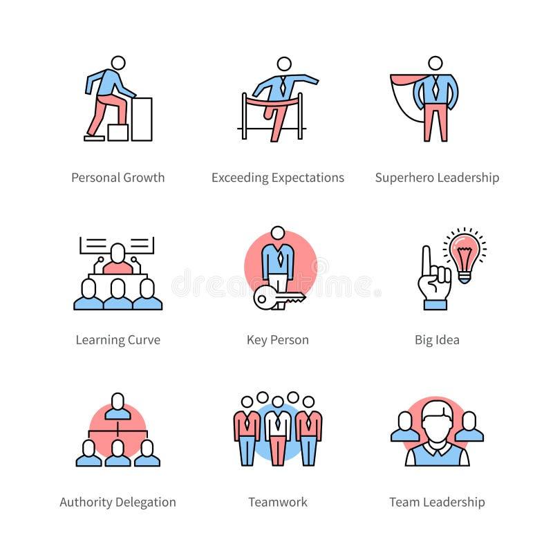 Gestão, trabalho da equipe, símbolos do conceito do negócio ilustração stock