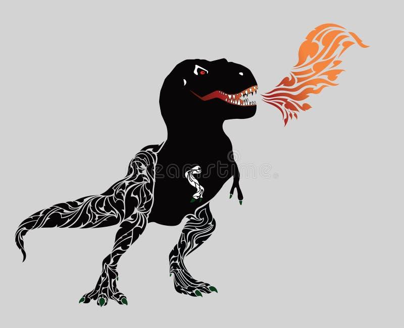 Gestów dinosaurów kiści okrutnie dym wynika jego usta ilustracja wektor