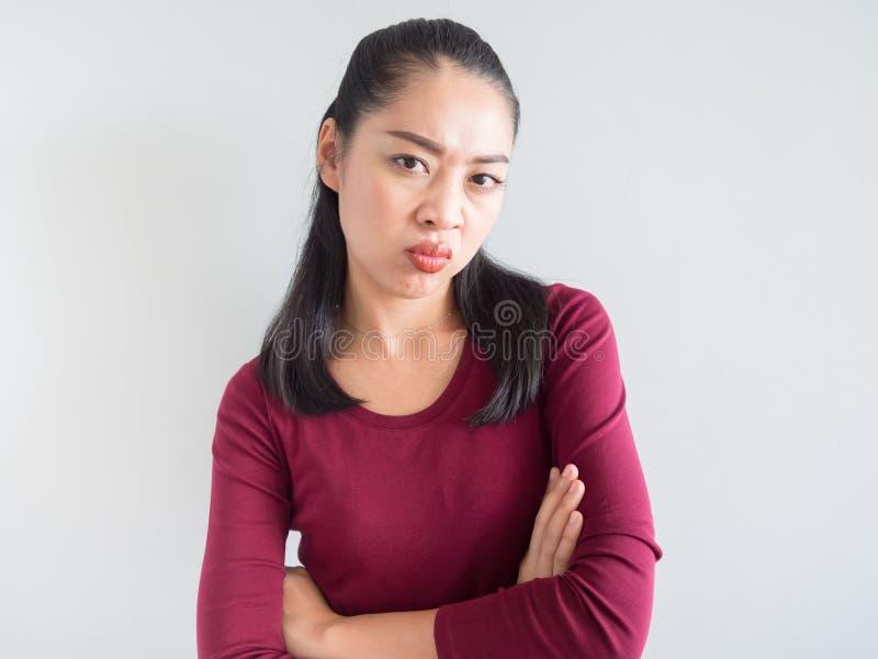Gestörte und unglückliche Frau lizenzfreie stockfotografie