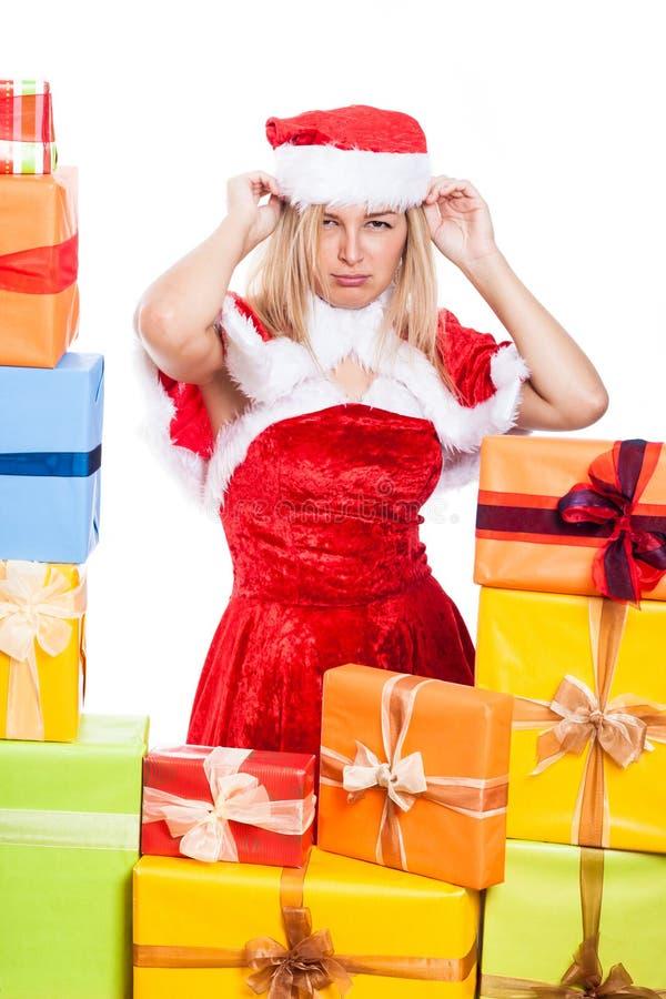 Gestörte Weihnachtsfrau stockfotos