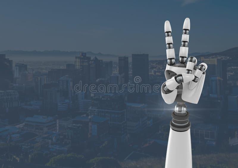 Gest för fred för Android robothand med blå stadsbakgrund royaltyfri illustrationer